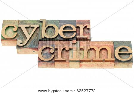 cybercrime word - isolated text in  letterpress wood type blocks stained by color inks