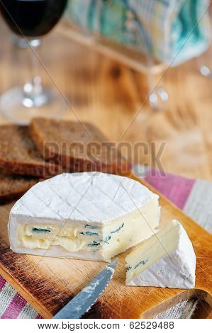 Blue Cheese, Knife And Wine