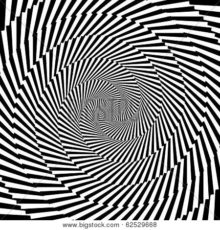 Design Monochrome Vortex Circular Movement Illusion Background