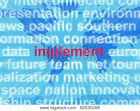 Implement Word Cloud Shows Implementing Or Executing A Plan