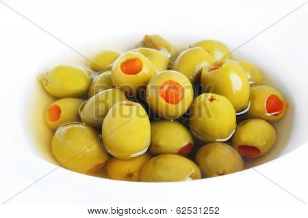 Green Olives Stuffed With Pepper In Bowl