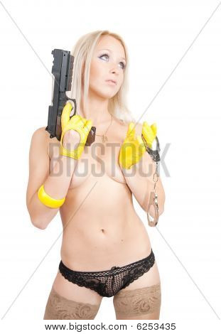 Topless Woman With Pistol And Manacles