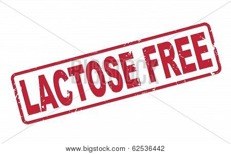 Stamp Lactose Free With Red Text On White