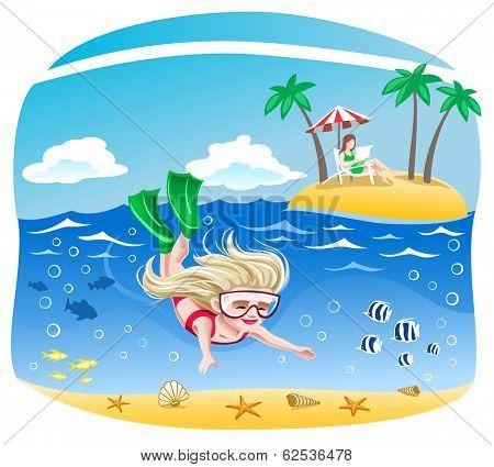 Girl dives into the sea
