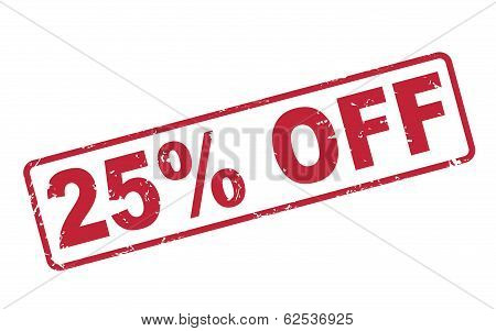 Stamp 25 Percent Off With Red Text On White