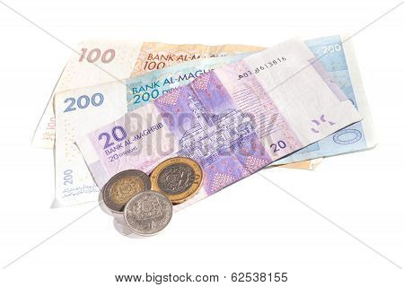 Different Colorful Banknotes And Coins. Moroccan Money Isolated On White