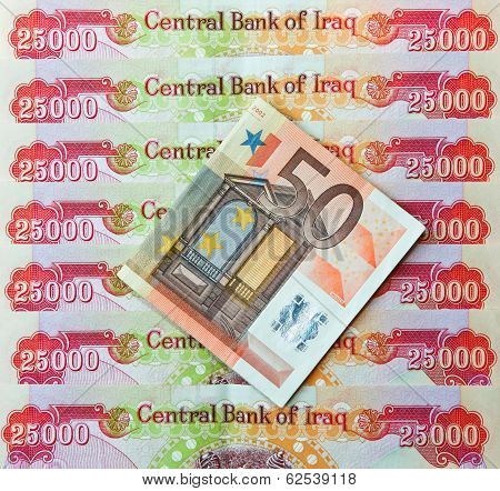 Iraqi Dinars and fifty Euro Note