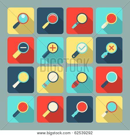 Magnifier flat icon set