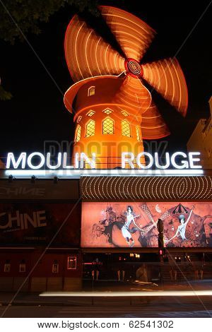 Entrance To Moulin Rouge Of Paris At Night
