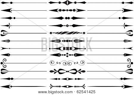Set Of Decorative Calligraphic Elements For Editable And Design