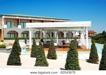 Outdoor Restaurant At The Modern Luxury Hotel, Pieria, Greece