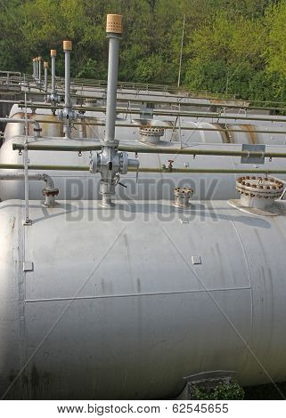Tops Of The Tanks With Exhaust Valves For Storage Of Natural Gas