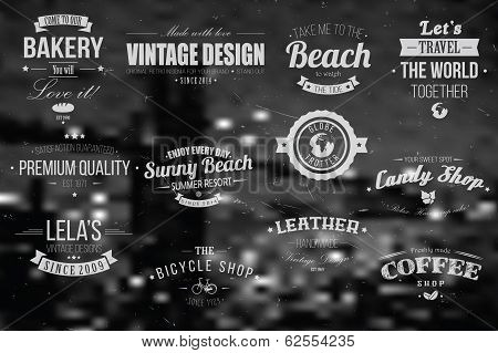 Collection of vintage retro insignia, badges, stamps, ribbons and typographic design elements