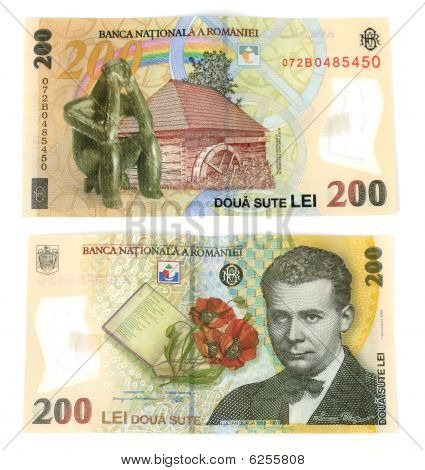200 Lei(romanian Currency) Isolated.