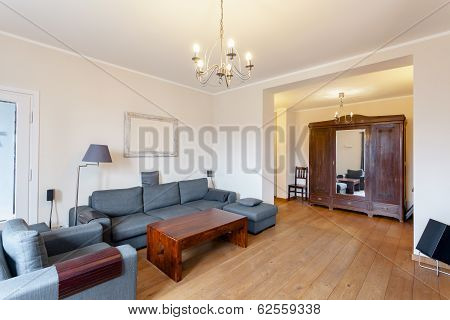 Grey Sofa In Spacious Living Room
