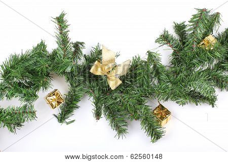 New Year Firtree Branch With Present Bags