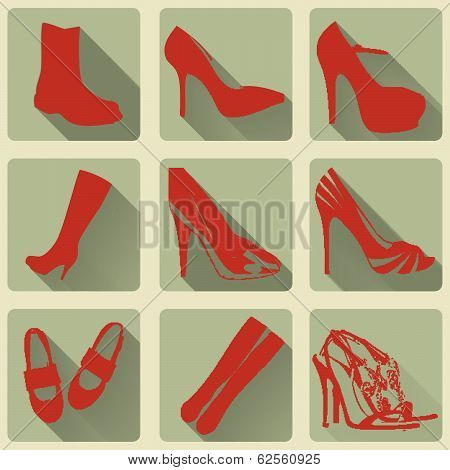 Vector Retro Red Boots Men And Women Shoes Icons With Long Shadow Style.