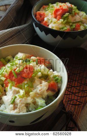 Tofu and Mentaiko Donburi