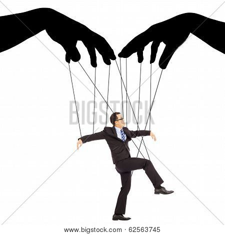 Black Hands Shadow Control A Businessman Action