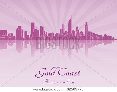 Gold Coast Skyline In Purple Radiant Orchid