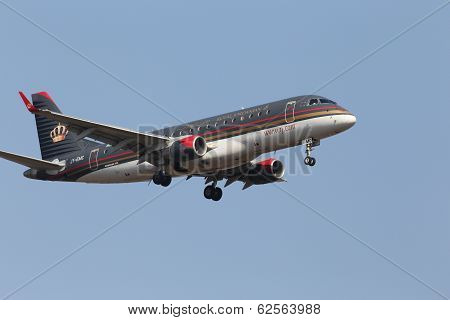 Royal Jordanian Embraer ERJ-175LR aircraft on the blue sky background