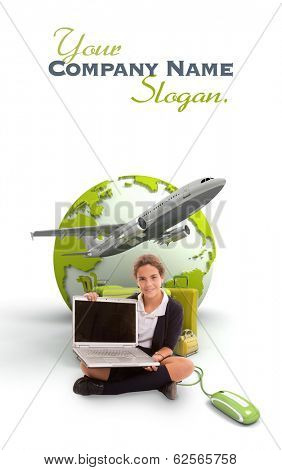 Young schoolgirl with a laptop, a pile of luggage and the Earth on the background
