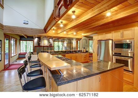 Log Cabin Style. Kitchen Interior