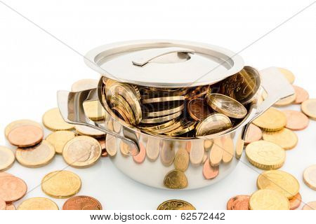 a pressure cooker is filled with euro coins, symbolic photo for funding
