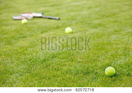 tennis ball and racket on the grass