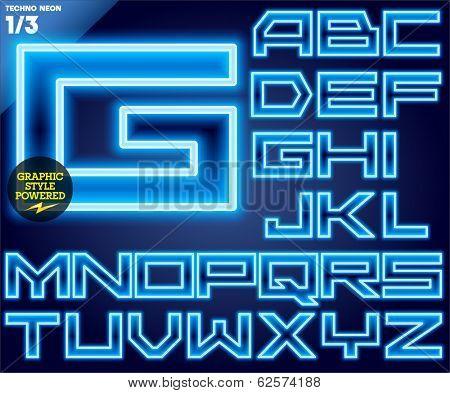 Vector illustration of abstract neon tube alphabet for light board. Techno Blue