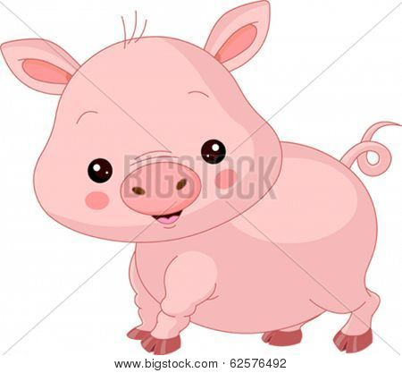Farm animals. Illustration of cute Pig