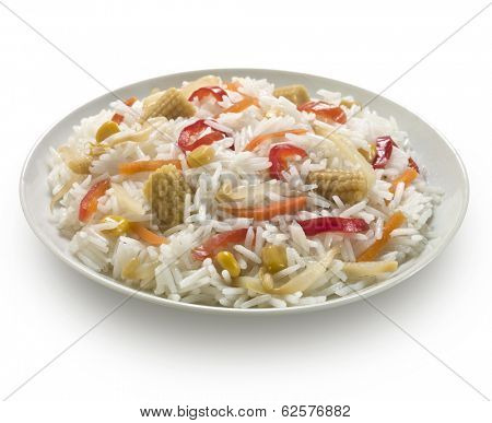 rice salad with mixed ingredients, isolated