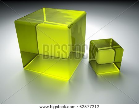 An image of two nice green glass cubes