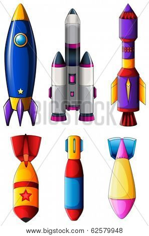 Illustration of the explosive rockets on a white background