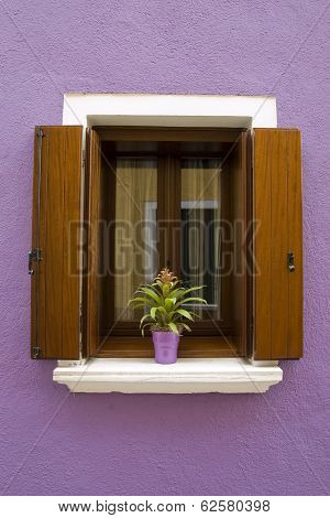 Window With Wooden Brown Shutters