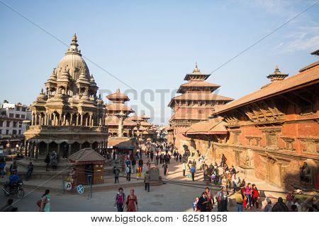 KATHMANDU, NEPAL - DEC 5: View of the Patan Durbar Square, Dec 5, 2013 in Kathmandu, Nepal. It is one of the 3 royal cities in the Kathmandu, a very popular spot for tourists.