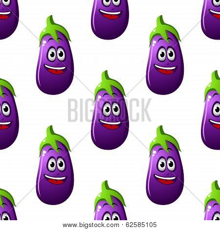 Seamless pattern of cartoon eggplants