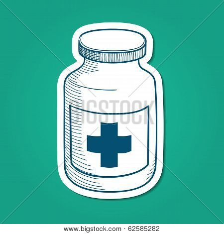 Bottle with medical cross sign.
