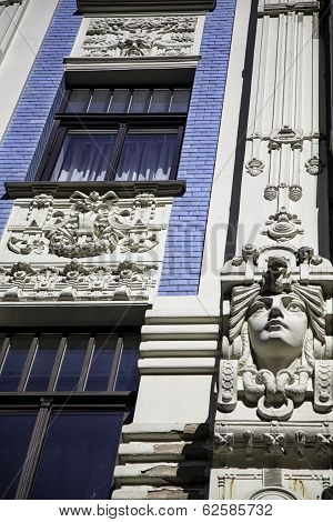 Facade of Art Nouveau building, Riga, Latvia