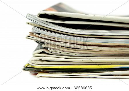 Pile of newspapers and magazines