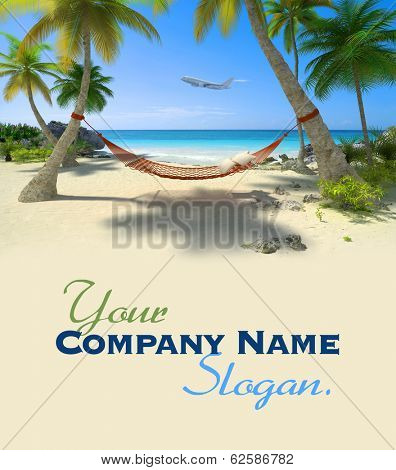 Exotic travel composition with a flying plane, a tropical beach with a hammock hanging from palm trees