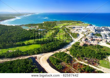 Caribbean sea from helicopter view