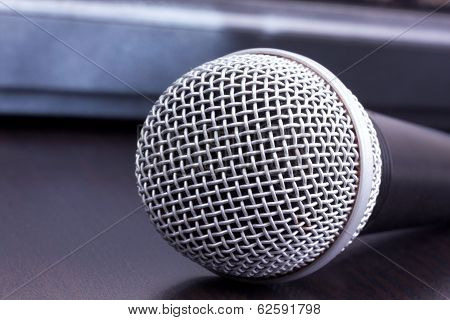 Microphone On Black Table