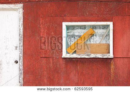Rustic Wooden Cabin Exterior Window Door Abstract