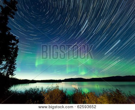 Startrails Northern Lights Display Lake Laberge