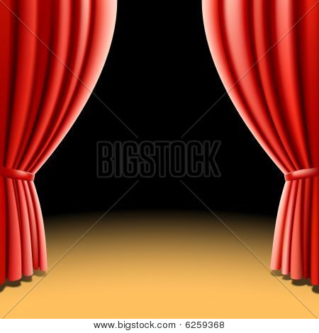 Red theater curtain on black. Vector illustration.