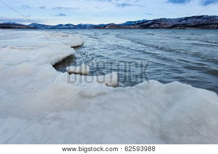 Shore Ice Sheet Lake Laberge Yukon Territory Canada