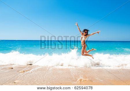 Cute Brunette Woman Jump At Sea