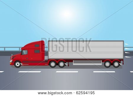 Red american truck isolated