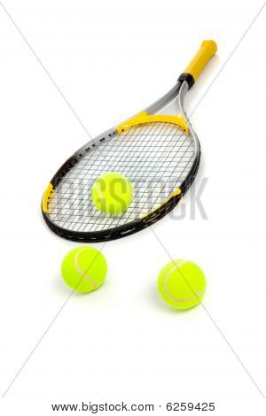 Tennis Racket And Balls On White